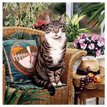 5D DIY Diamond Painting Flower &Cat Cross Stitch Flowers And Cute Cat Needlework Home Decorative Full Square Embroidery