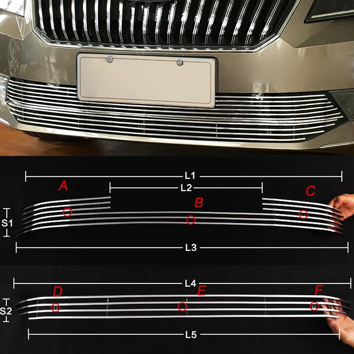 High quality free shipping Stainless Steel Car Racing Grills For Skoda Superb 2013-2016 Front Grill Grille Cover Trim racing grills version aluminum alloy car styling refit grille air intake grid radiator grill for kla k5 2012 14