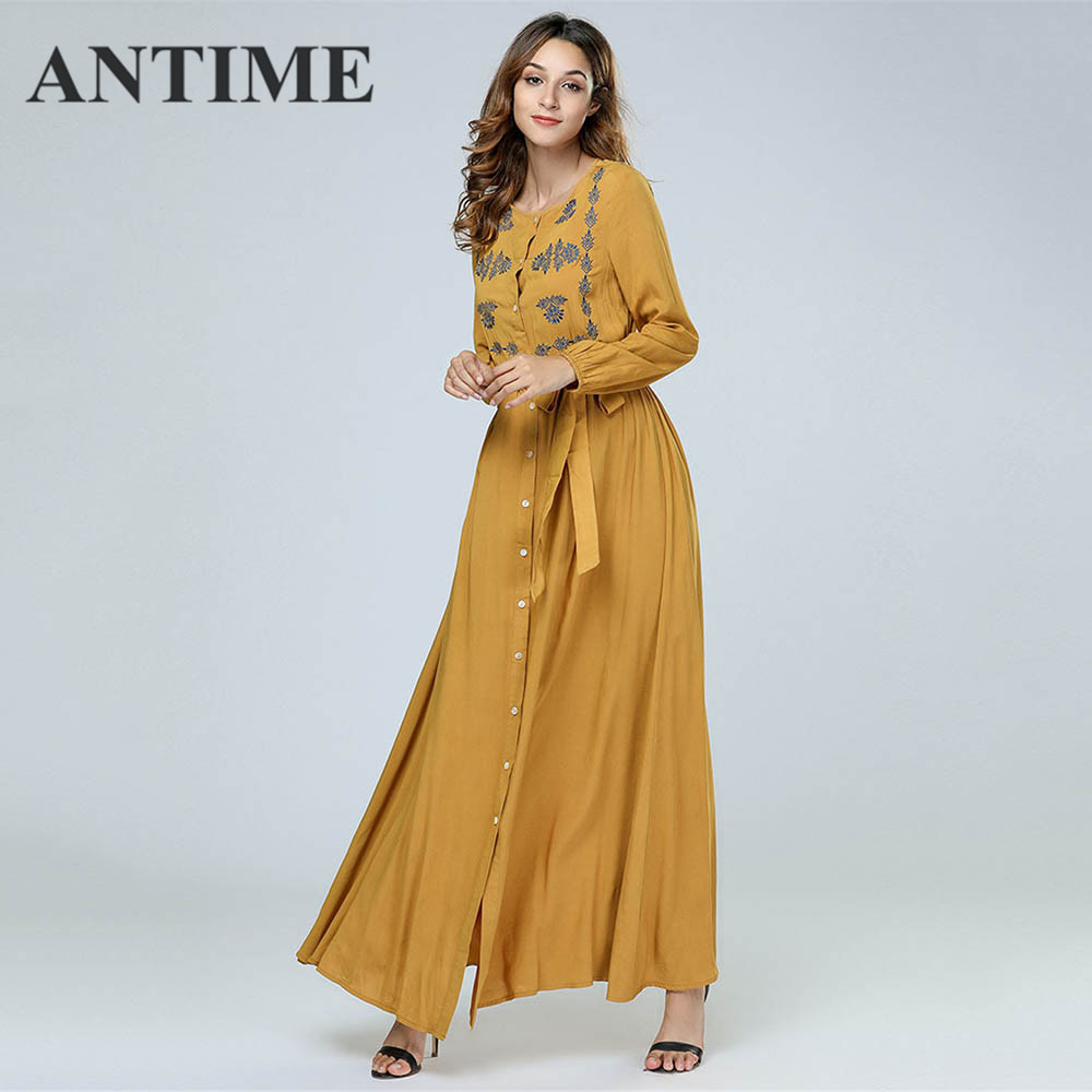 ANTIME Casual Maxi Dresses Women New Streetwear O-Neck Autumn Winter Button Sashes A-Line Long Sleeves Elegant Gold Dress 4