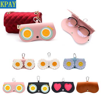 2019 PU Leather Sun Glasses Case Cute Cartoon Eyeglass Cover Sunglasses Pouch For Women Protector Holder Box Bag Accessories vivibee women sunglass case pu leather 2019 men vintage spectacle soft cases eyeglass high quality brown box sunglasses pocket