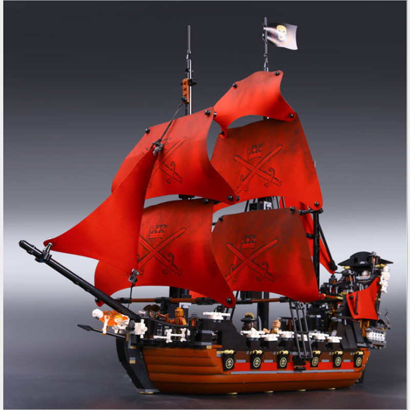 New LEPIN 16009 1151pcs Queen Anne's revenge Pirates of the Caribbean Building Blocks Set Compatible with 4195 Children DIY gift dhl lepin 22001 imperial warships 16009 queen anne s revenge model building blocks for children pirates toys clone 10210 4195