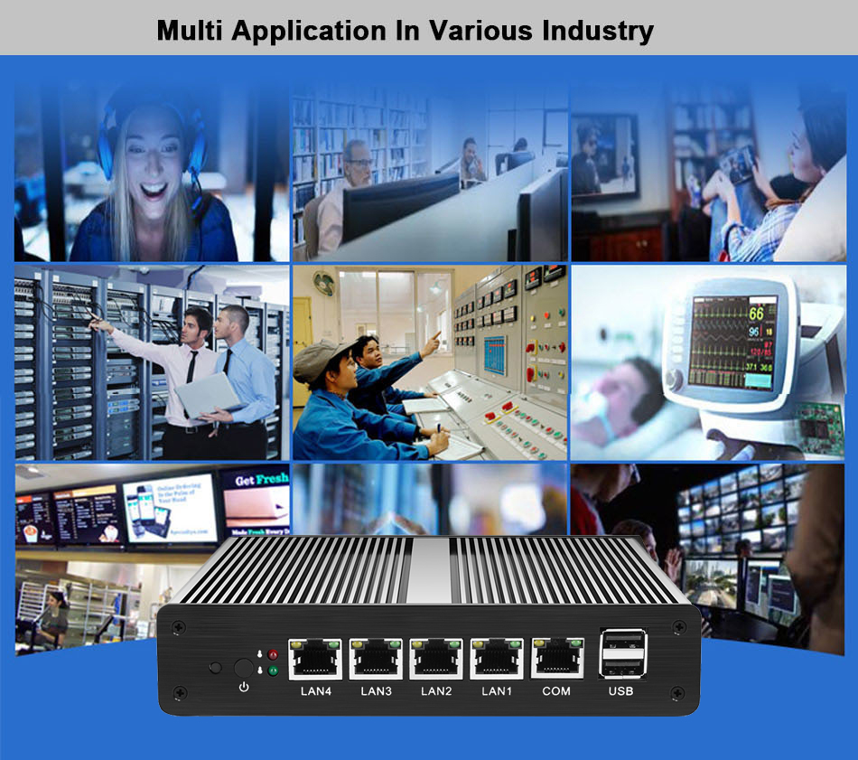 Безвентиляторный мини-ПК pFsense Celeron J1800 J1900 4 ядра 4 Gigabit LAN маршрутизатор брандмауэра Windows 10 HTPC тонкий клиент 4 RJ45 LAN VGA