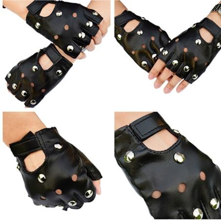 1 Pair Halloween Black PU Leather Fingerless Gloves Solid Female Half Finger Driving Women Fashion Punk Gloves