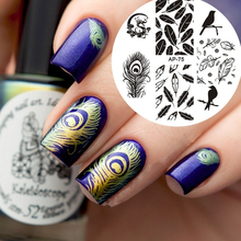Birds Dragon Feather Nail Art Stamp Template Image Plate Pandox AP75 Nail Stamping