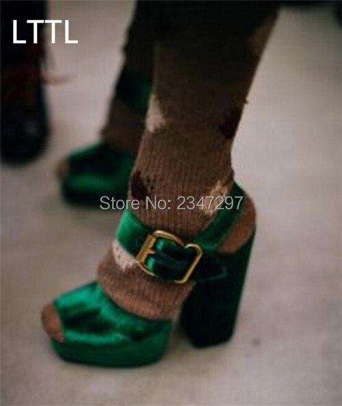 ФОТО New Korean Style Velvet Women's Platform High Heels Gladiator Sandals Crossing Belt Women Chunky High Heel shoes Party Pumps