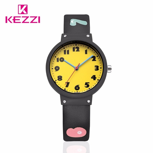 Kezzi Cartoon Fashion Children Casual Girls Candy Color Leather Strap Sweet Cute Style Quartz Watch Clock Relogio Feminino