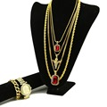 Hiphop 6 Pieces Set Red Stone Micro Praying Angel Pendant Rope Chain Big Square Gem Cuban Chain Iced Out Bracelet & Watch Set