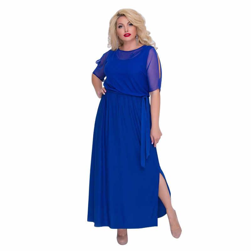 2018 элегантное вечернее платье черное Сетчатое Сексуальное Женское Платье размера плюс летнее платье длинное платье макси 5XL 6XL Большие платья