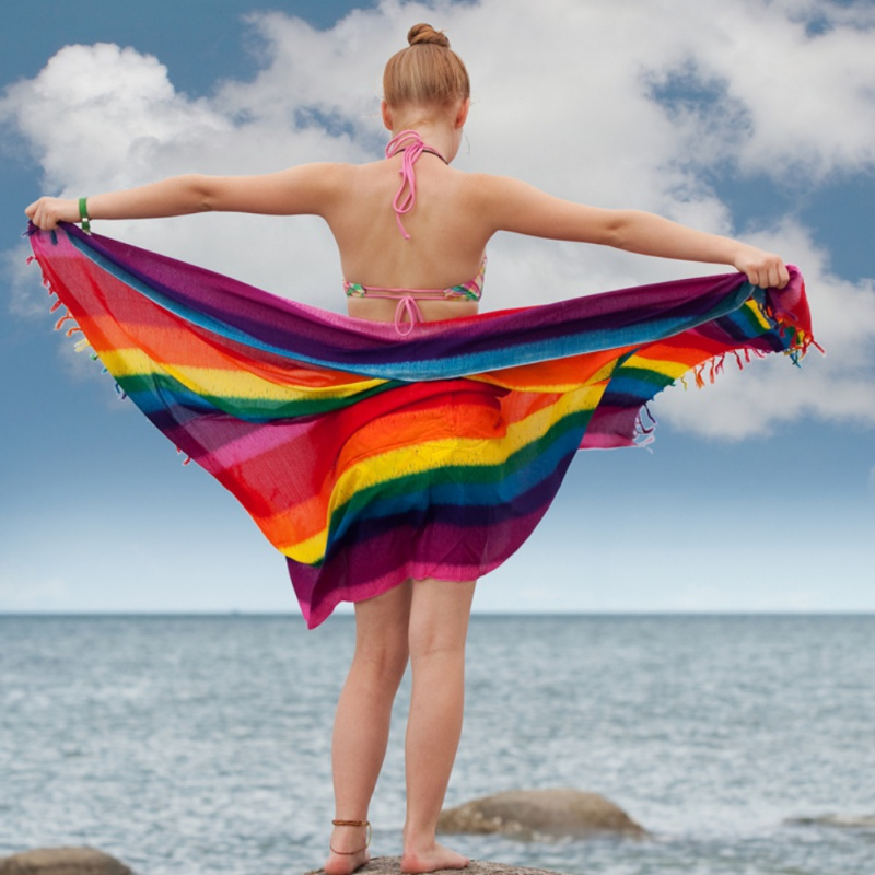 Color Striped Beach Towel Tapestry Chiffon Sunscreen Scarf Rainbow Blanket Soft Drap Mandala Home Decor