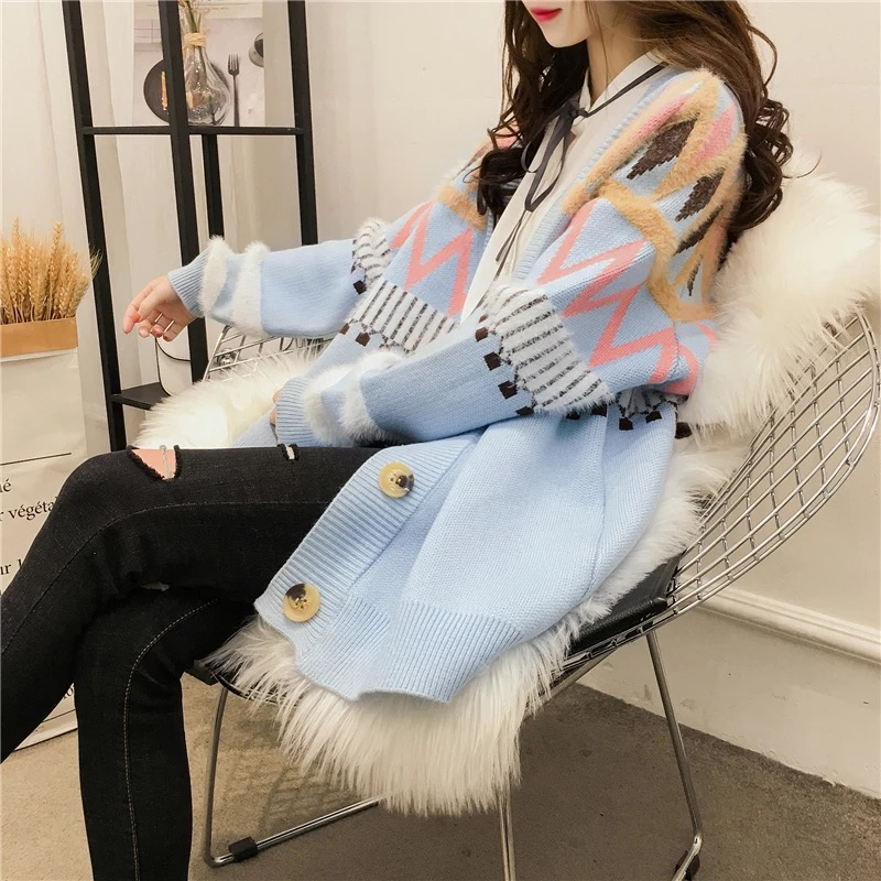 Women Autumn Winter Sweater Buttons Long Sleeve Striped Knitted Cardigan Ladies Spring 2018 New Arrival Oversize Cotton Sweaters