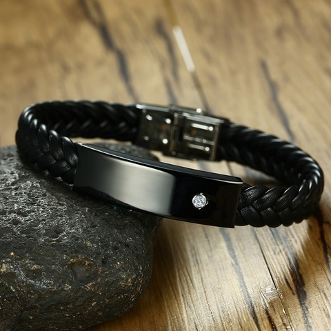 Купить мужской браслет с фианитом черный кожаный высокого качества