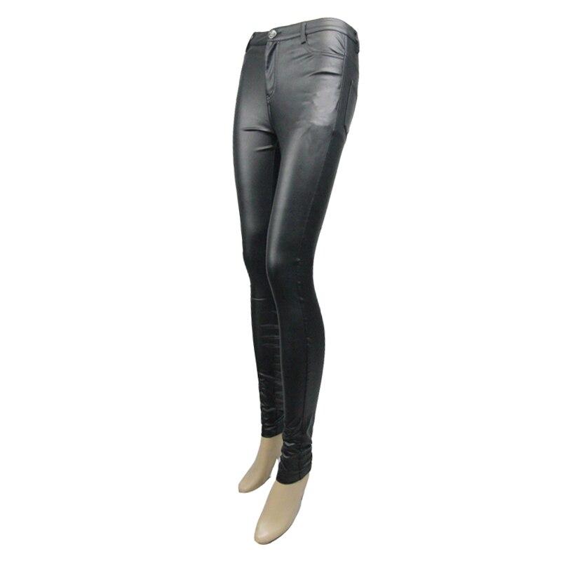 Devil Largo Las Estiramiento Negro Diseño Sólido Pantalones Cuero Pu Mujeres Fashion Steampunk Para Punk Simple 6Yqr6