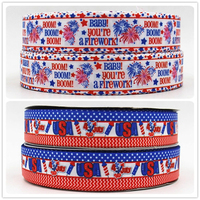 Q&N ribbon wholesale/OEM 1inch 25mm July 4th USA national day print grosgrain ribbon 50yds/roll free shipping for hair bow