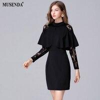 MUSENDA Plus Size Women Black Lace Patchwork Tunic Dress 2017 Autumn Female Office Lady Dresses Vestido