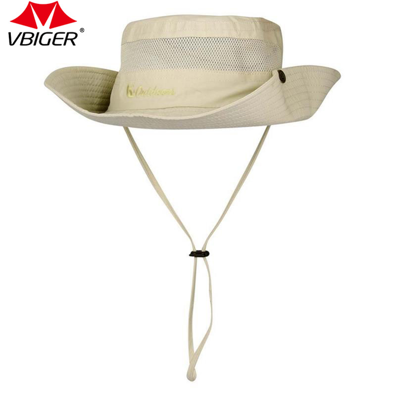 Vbiger Adjustable Hiking Cap Large Wide Brim Sunproof Sun Hat Fishing Cap Unisex Outdoor Sports Cyling Hat wide brim straw hat