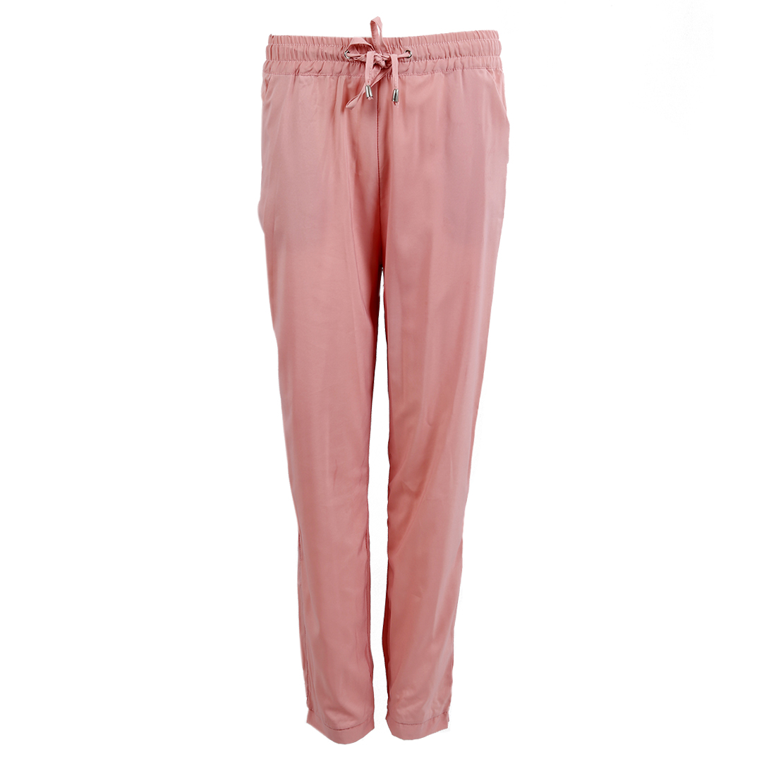 Casual Women Pants Solid Color Drawstring Elastic Waist Comfy Full Length Chiffon Harem Pants