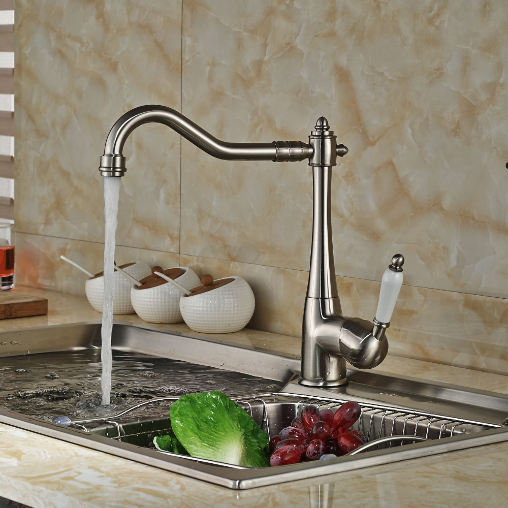 Ceramic Style Brushed Nickle Swivel Spout Kitchen Sink Faucet Deck Mount Bathroom Kitchen Mixer Tap
