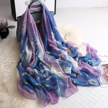 New Summer Chiffon Scarf Women Retro Crocodile Wrinkle Oversized Silk for Ladies Shawl Sunscreen Beach Towel Hijab