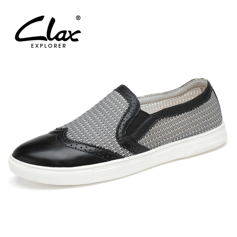 Clax Men Summer Shoes 2017 Breathable Mesh Shoe for Male Casual Leather Loafers Designer Flats Walking Footwear Red fgn men s new 2017 casual summer breathable male wear resistant mesh shoes comfort trend of male flats shoes