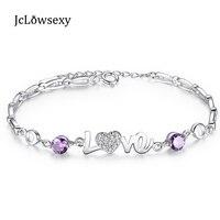 100% 925スターリングシルバーファインジュエリー紫色のクリスタルczジルコン愛ハートのブレスレットハート愛ファムブレスレットギフ