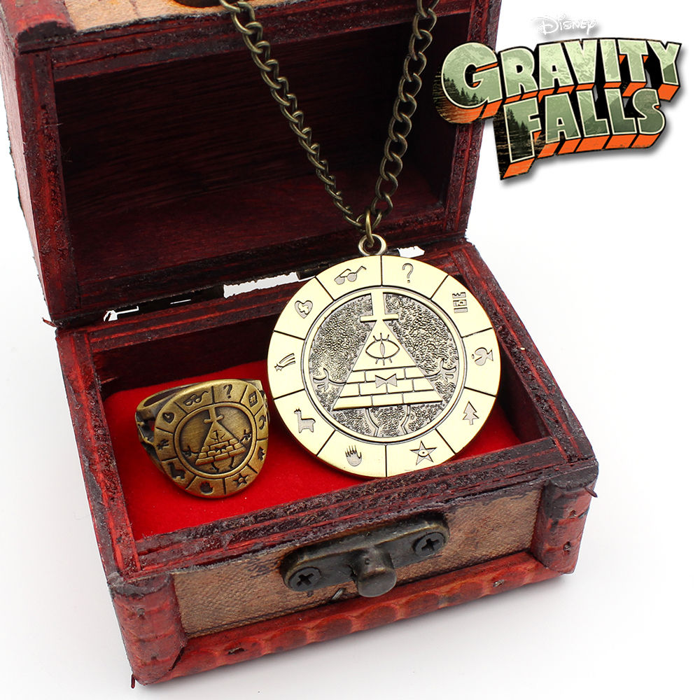 OHCOMICS Hot Anime Gravity Falls Bill Cipher Metal Necklace+Ring+Wooden Box Costume Cosplay Accessories Pendants Ornament Decor