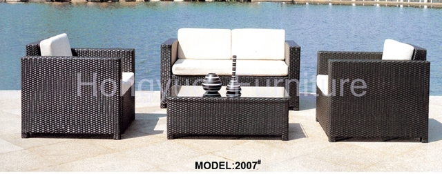 Ratán jardín muebles sofá conjunto con cojines venta
