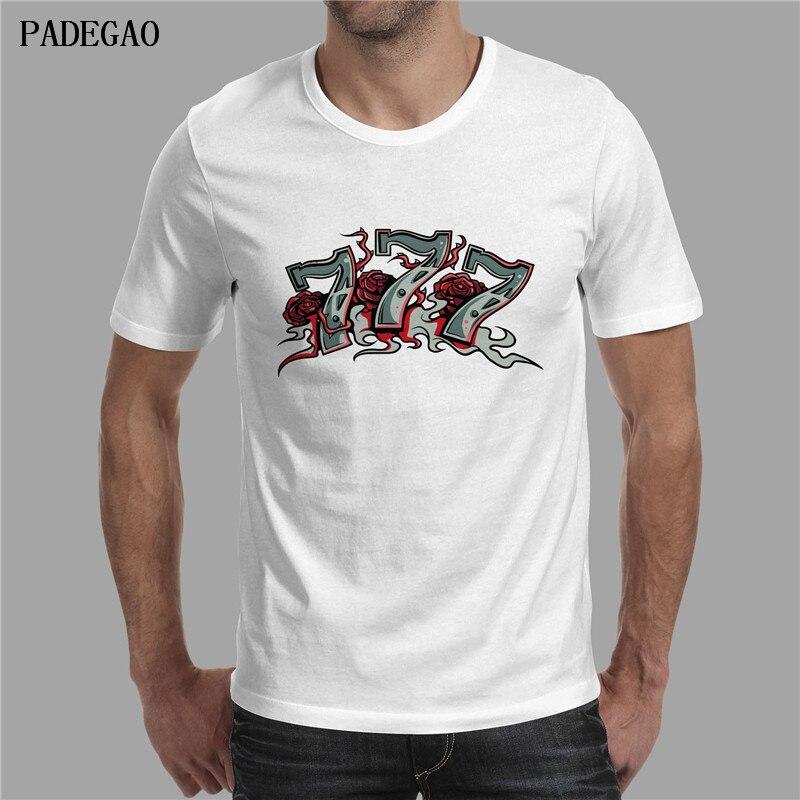 PADEGAO Poker Spiel Stil Mode Herren T-shirts Kurzarm Weiß Punk 777 Drucken...