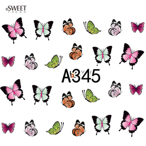 Image 4 - 12 Designs in 1 Sweet Butterfly Nail Wraps Nail Art Stickers Polish Watermark Nail Decals Decoration Manicure Tools LAA337 348