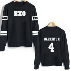 682a3cd8b04 2018 new Kpop EXO Women Hoodies Pullover Sweatshirt Suho Sehun Luhan Black  Autumn Capless Sweatshirt Women