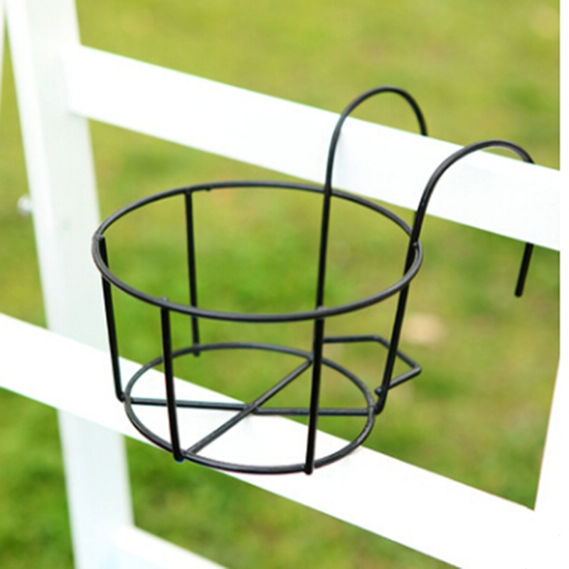 Hanging Plant Iron Racks Balcony Round Flower Pot Rack Railing Fence Outdoor dorp shipping