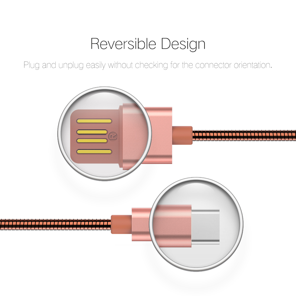 Metal Spring wire USB Type C Data Sync Cable Dual side USB 2.1A Fast on