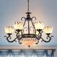 Mediterranean Sea style colorful Chandelier lights Art Deco Tiffany iron suspension lights luxury living room Chandelier lamps