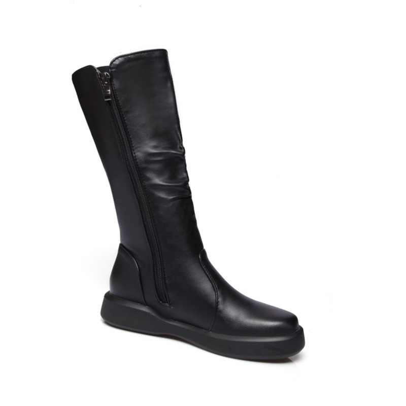 EGONERY peluş kış bahar orta buzağı çizmeler kadın yuvarlak ayak avrupa fermuar siyah beyaz için marka ayakkabı gel kadın kar çizmeler