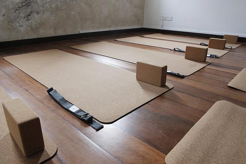 Tapis de yoga en liège et TPE dans un studio de yoga, avec briques et sangles