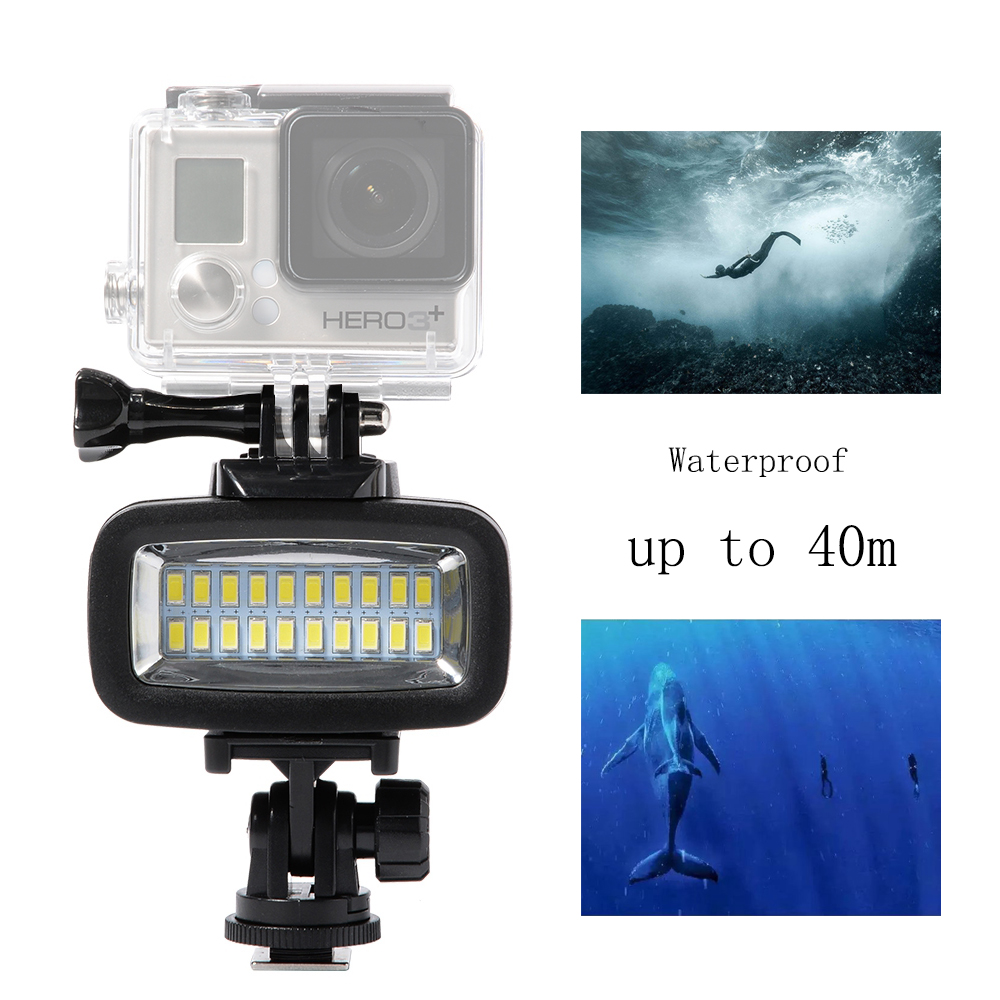 LED 40m Undervattens Vattentät Lamp LED High Power Dimmable Video Flash Fylllampa För SJCAM SJ4000 Gopro XIAOMI Yi 700LM SL-100