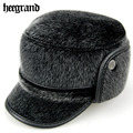 HEE GRAND Winter Old Men PU Leather Wool Snapback Caps Thickening Imitation Mink Hats Man Protect Ear Fur Thermal Cap PMJ020