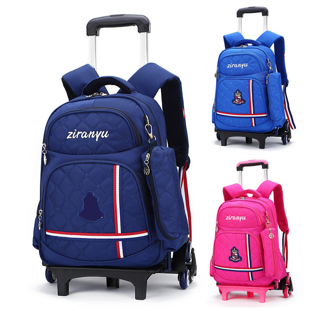 Kids Rolling Backpack Boys Wheeled Book Bag Children Trolley School Travel For S Satchel
