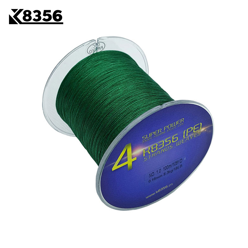 K8356 4 Stands PE Braided Fishing Lines100M 100% PE Multifilament Braided Wire 8-150LB 109Yards Smoother Mainline Fishing Line
