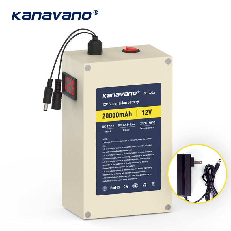 Kanavano plaque Portable 12 V 20AH batterie au Lithium Rechargeable paquet 18650 et AC 12.6 V 2A chargeur de puissance avec 4 types de prisesKanavano plaque Portable 12 V 20AH batterie au Lithium Rechargeable paquet 18650 et AC 12.6 V 2A chargeur de puissance avec 4 types de prises