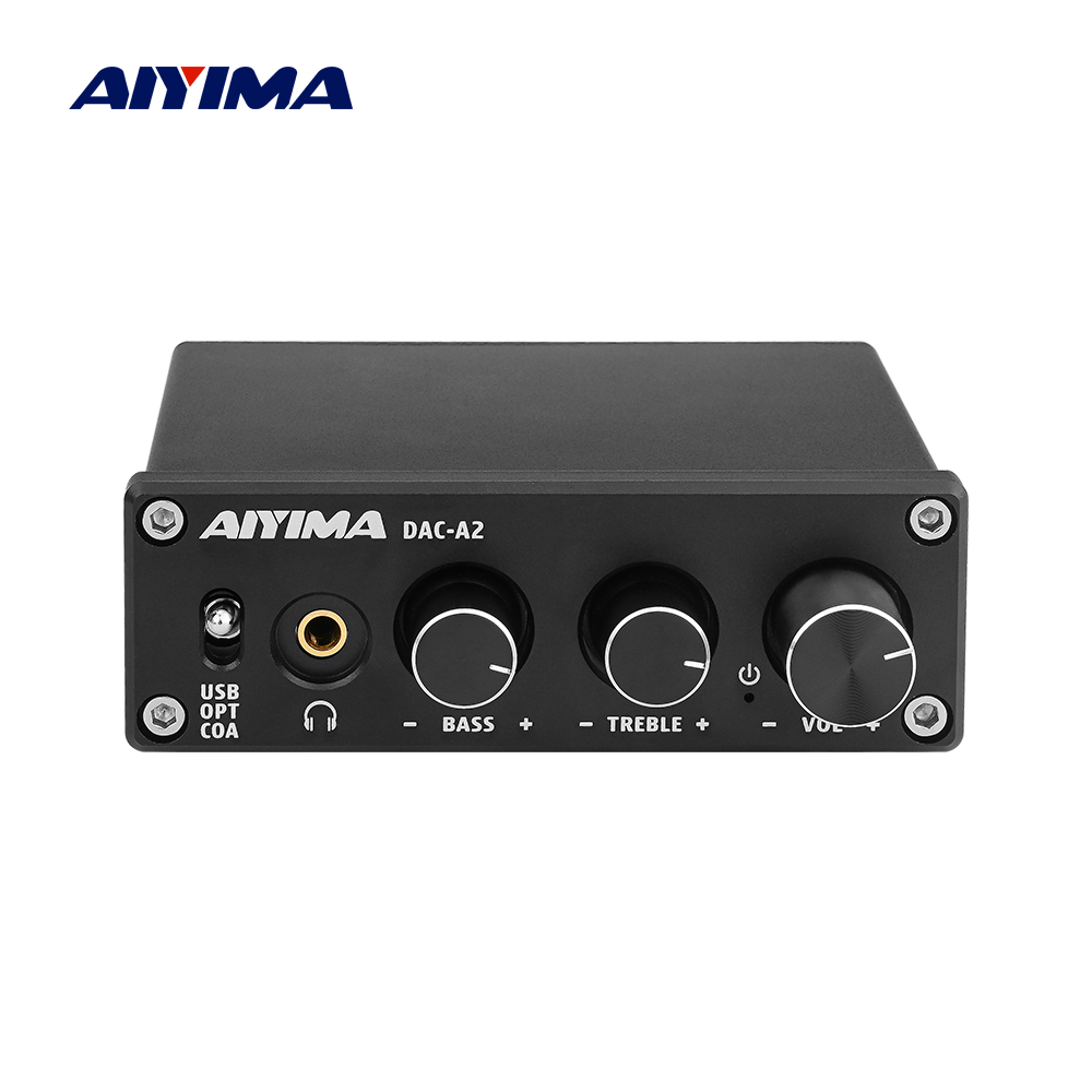 AIYIMA Mini HiFi 2.0 Digital Audio Decoder USB DAC Headphone Amplifier 24Bit 96KHz Input USB/Coaxial/Optical Output RCA Amp DC5V