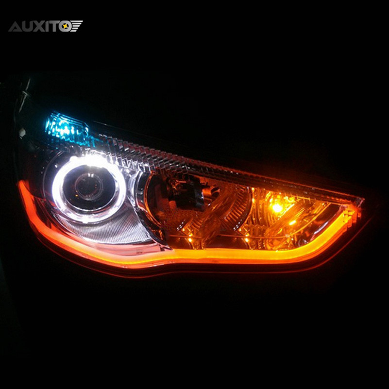 X Cm Car DRL White And Yellow Turn Signal Lights Flexible Soft - Car signal light
