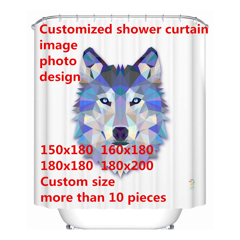 Free Shipping Custom Logo Photo Shower Curtain image Waterproof Polyester 4 Sizes Shower Curtain For The Bathroom With 12 Hooks
