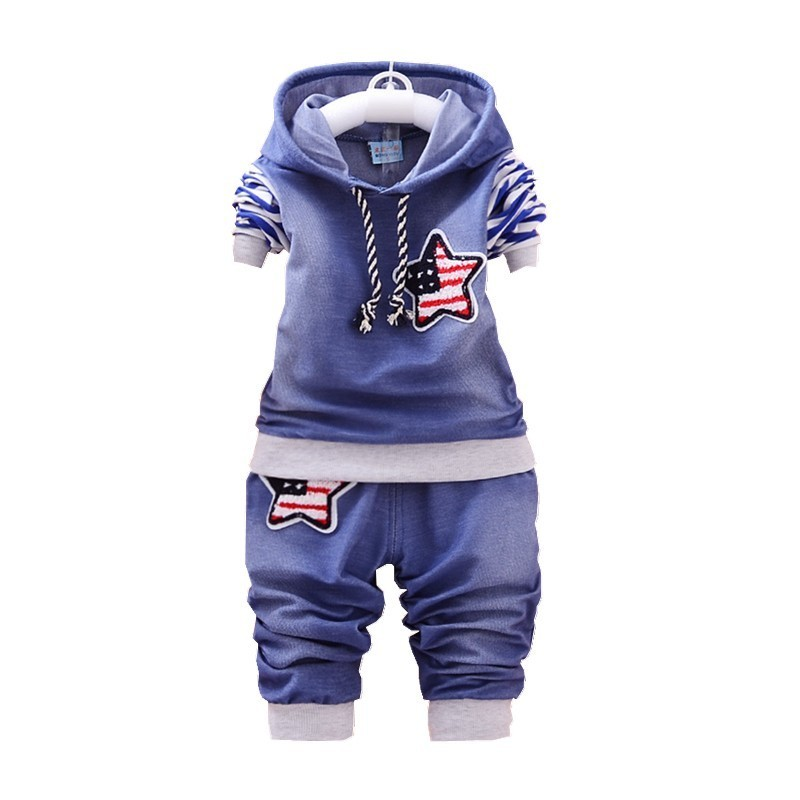 2018 Spring Autumn Boy Clothing Cotton Long-sleeved Denim Hooded T-shirt Pants Baby Clothing Kids 2 Pcs Clothing Clothing Suit noulei ballscrew support bk17 bf17 c3 linear guide screw ball screws end supports cnc