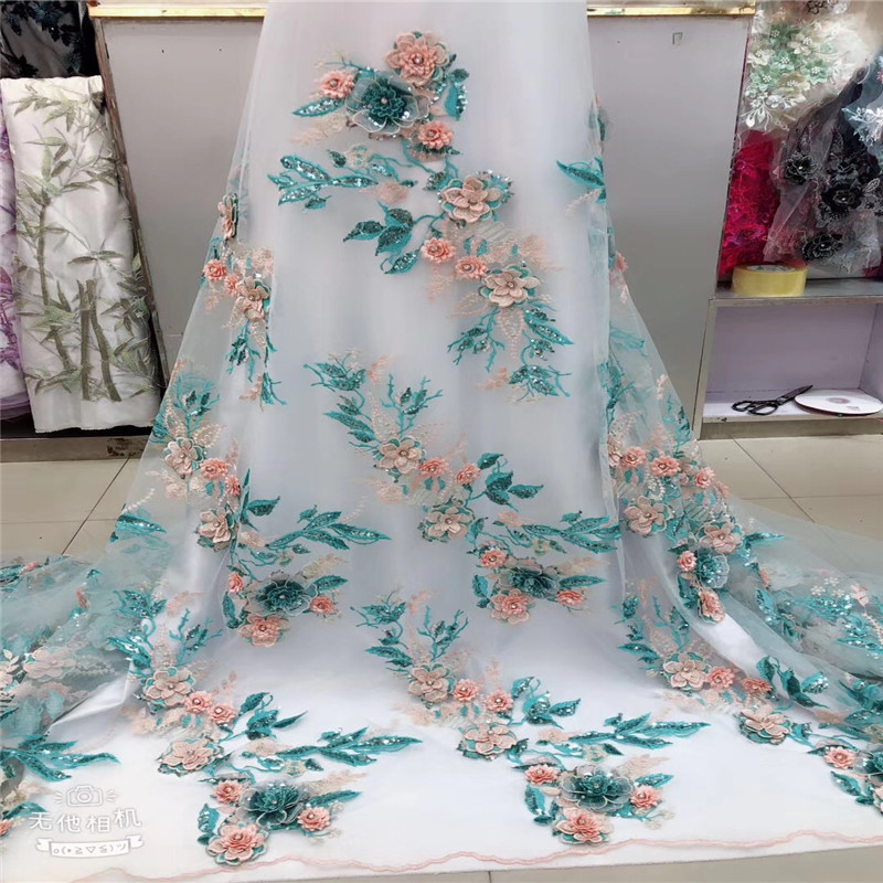 African Lace Fabric 2018 High Quality Lace 3D Flower Lace Fabric Beautiful Applique Sequins Lace For Wedding Dress HJ1310 1