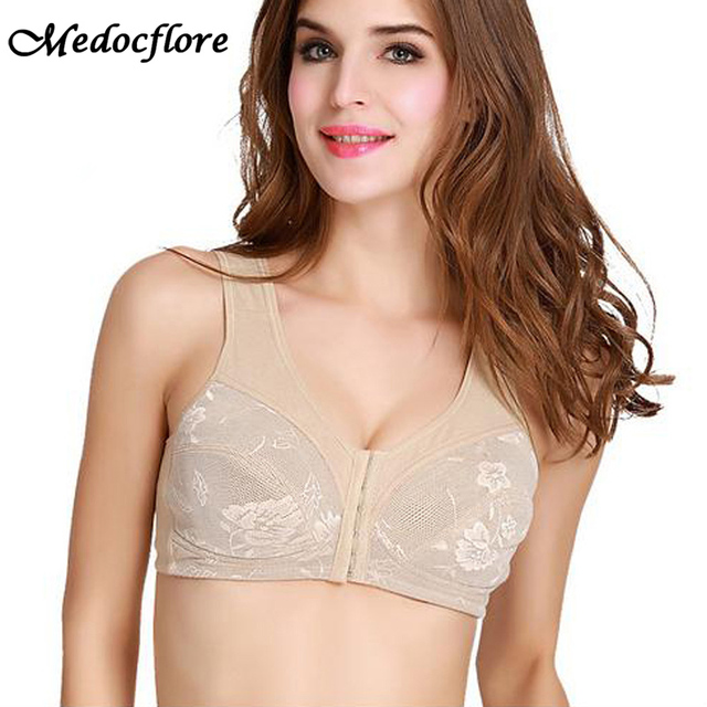 c223fcdfb6b16 Fashion Front Closure Silicone Breast Form bra Breast Cancer mastectomy bras  with Pocket Bralette for Women