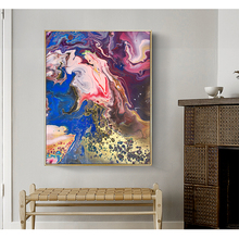 CHENFART Original Contemporary colourful Abstract art Paintings Red and Golden Print on Canvas Oil Painting Wall Art Living Room