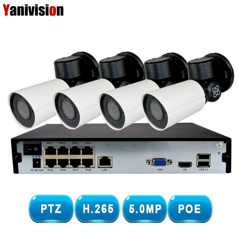 H.265 PTZ 5.0MP POE 4X Zoom 4CH NVR Kit CCTV Système IP Caméra Extérieure Vidéo Surveillance de Sécurité Ensemble En Plein Air Étanche 5MP CAM