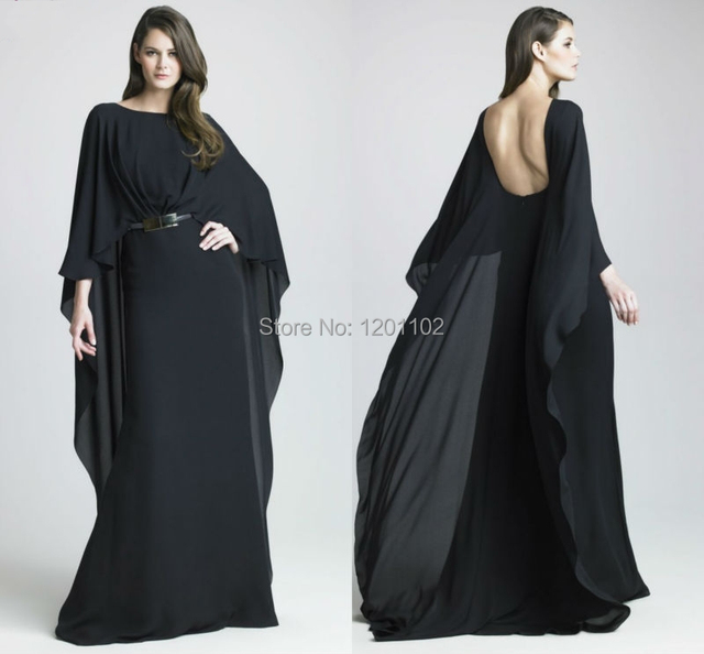 29ae84a810628 Prom dresses new 2015 abaya in dubai Black Chiffon Long Dresses With Long  Sleeve fashion sexy backless gowns vestidos de noche