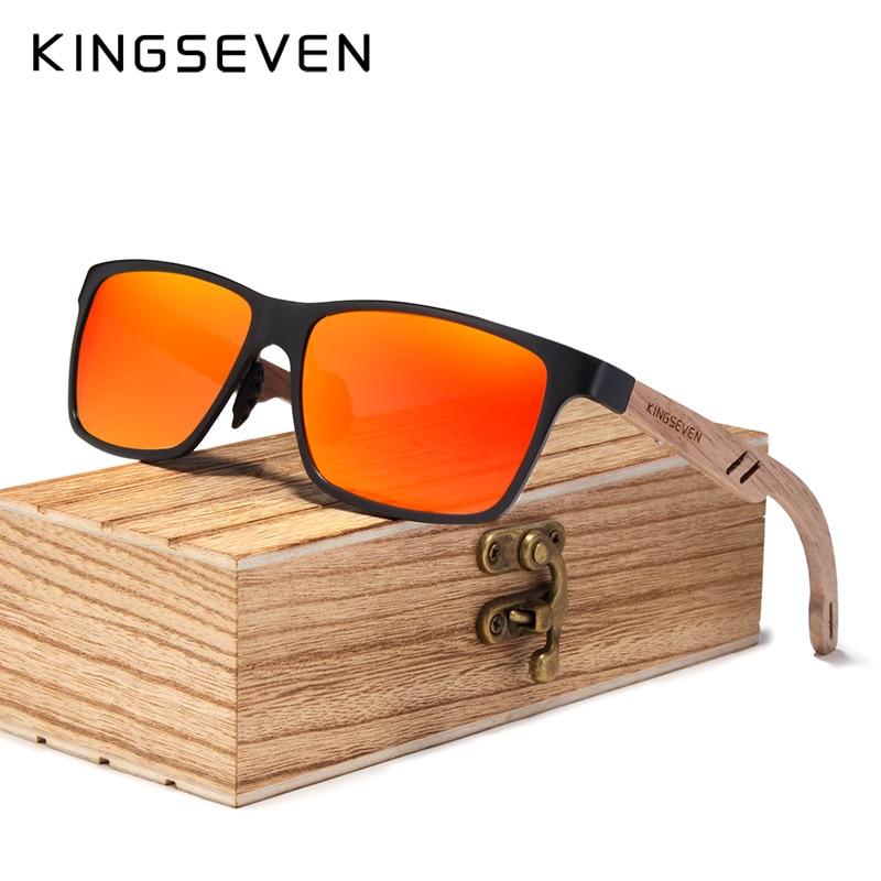KINGSEVEN 2019 Wood Men Sunglasses Polarized Wooden Sun Glasses for Women Mirror Lens Handmade Fashion UV400 Eyewear Accessories 5