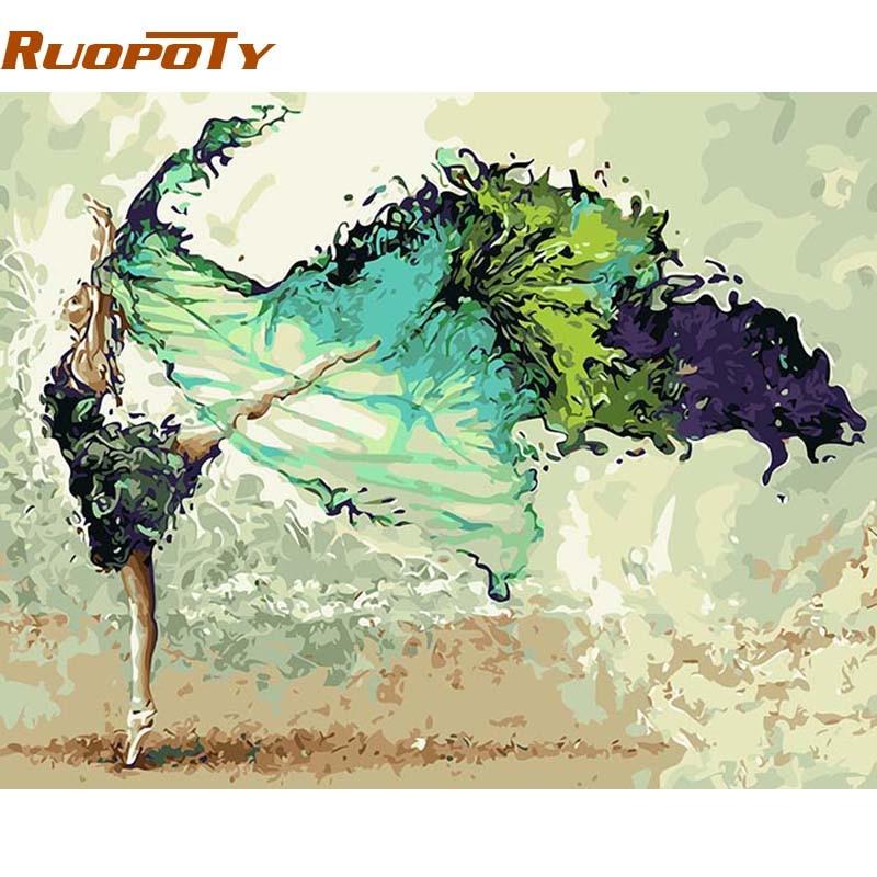 RUOPOTY Cornice Pittura di DIY Dai Numeri Astratta Dancer Figura Pittura Acrilica Dipinta A Mano Per La Decorazione Domestica 40x50 Wall Art immagine